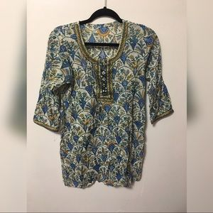 Vintage Eastern Paisley Print Tunic Top